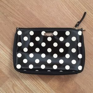 Kate Spade patent leather polka dot pouch